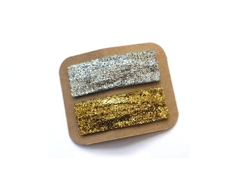 SALE 2 Large Glitter Snap Clips