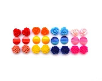 Flower Stud Sets   Rose Studs   Flower Earrings   Ombre Earrings   Earring Set   Stud Set