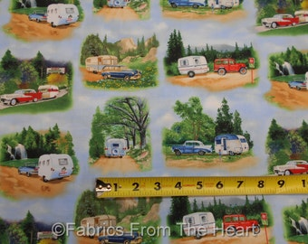 Vintage Travel Trailers Campers Scenic Roads BY YARDS Elizabeths Cotton Fabric