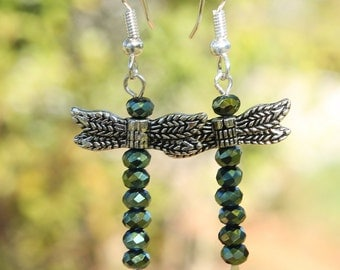 dragonfly earrings, blue green dragonflies,metal dragonflies, dragonfly,bug earrings