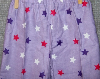 Pajama Pants--Oh My Stars.. Lavender Flannel with Stars..Size 12-18 Month Infant