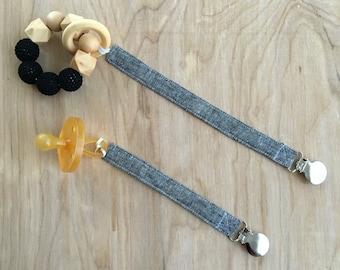 Universal Black Linen Pacifier Clip