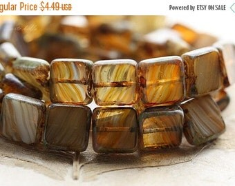 10% off SUNLIGHT .. 15 Premium Picasso Czech Glass Square Beads 11mm (B1001-15)