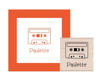 Cassette Tape Personalized Rubber Stamp
