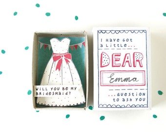 The bridesmaid box - will you be my bridesmaid? - with festive dress illustration