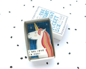 Always be a Unicorn - The Instant Comfort Pocket Box - I believe in you! - cheer up and consolation box - rainbow - graduation gift