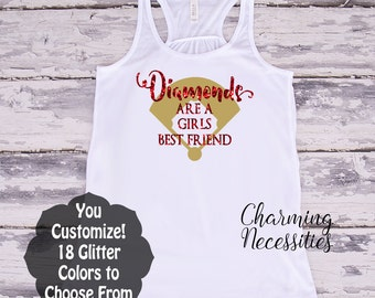 Baseball Mom Fan Glitter Tank Top, Diamonds are a Girls Best Friends, Custom Personalized by Charming Necessities