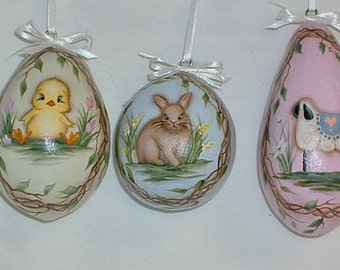 Set of 3 Gourd Easter Eggs -  Hand Painted - Lamb, Chick and Bunny Rabit