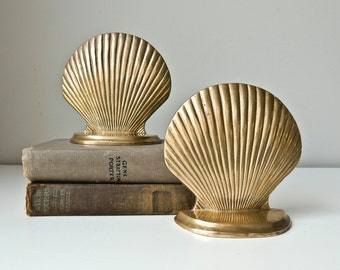 Brass Seashell Bookends