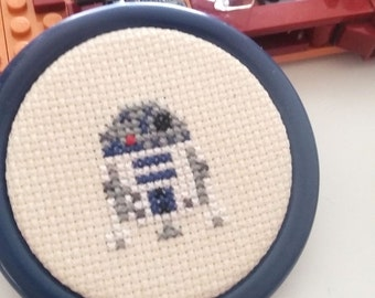 ON SALE R2D2 Parody 2.5inch  6cm Mini Cross Stitch -Jedi Star Wars Inspired May the 4th Ready to Hang