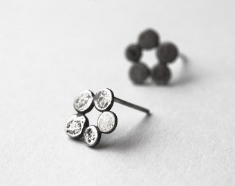 Circle Stud Earrings, Modern, Minimalist, Organic Jewelry, Sterling Silver, Earrings, Gift For Her