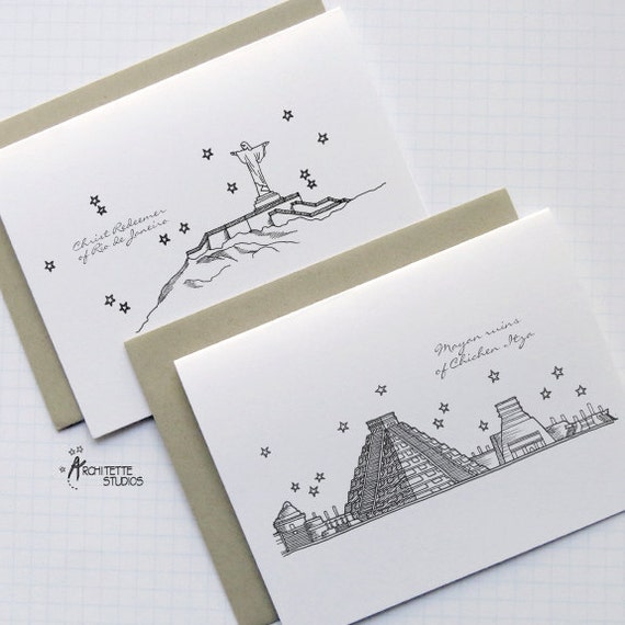 Seven New Wonders of the World - City Skyline Series - Folded Cards (8)