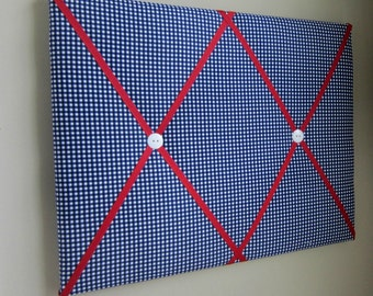 "16""x20"" Memory Board Navy Blue & Red Gingham, Bow Board, Bow Holder, Photograph Holder, Ribbon Board, Memo Board, Vison Board, Organizer"
