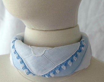 Layered Handkerchief Scarf All Vintage Soft Blues and White Bandana Scarf Choker Scarf Fabric Jewelry Bridesmaids Gifts