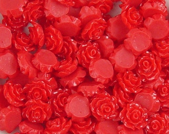 CLEARANCE Cabochon Resin Flower 40 Resin Round Rose Flower Red 10mm x 5mm (1026cab10m1-#4)os