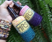 Mrs and Mrs, Beer cozy, Bride and Bride, Lesbian wedding, Gay Wedding, Boho Hippie, Gay Pride, C20, same sex, two brides, lesbian gift