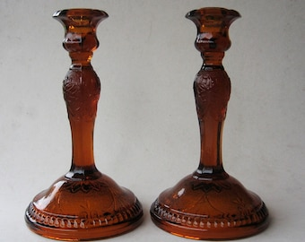 Indiana Tiara Amber Tall Candle Holder Lot of 2