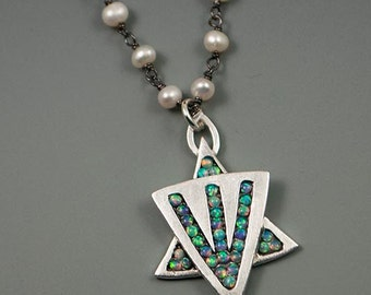 Opal Mosaic Star Necklace with Pearl Chain