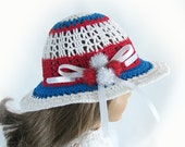 Doll Hat for American Girl Doll Red White and Blue Doll Hat 18 Inch Doll Summer Hat Am Girl Doll Hat Crochet Doll Hat -RESERVED for Penny J.