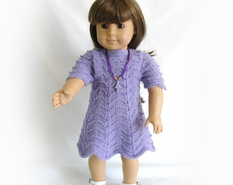 American Girl Doll Knit Dress 18 inch Doll Lavender Knit Dress Am Girl Doll Knit Lavender Dress AG Doll Knit Dress AG Doll Purple Dress