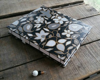 Large Black Funky Floral Journal, Coptic Stitch Art Journal, Large Hard Cover Hand Stitched Sketchbook, Black And White Wedding Guest Book