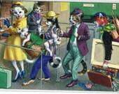 Mainzer cats, vintage postcard, Artist Road Trip, Mainzer dressed cats Postcard no. 4855 anthropomorphic