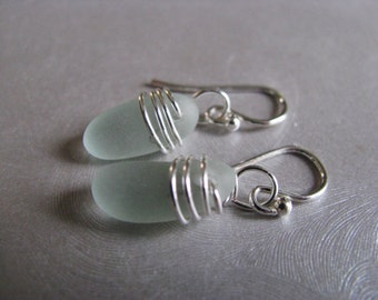 Seafoam Wire Wrapped Sea Glass Dangle Earrings - Seafoam Beach Glass Earrings