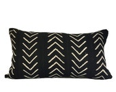 Vintage African Arrows Black Mudcloth Lumbar Pillow 14x24