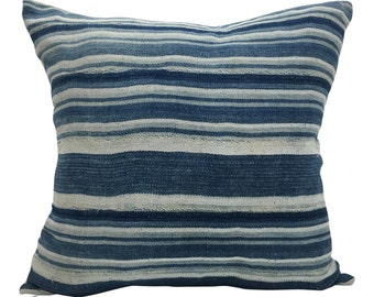 Vintage African Indigo Mudcloth Striped Pillow | ACE 18x18