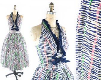 Vintage 50s Halter Dress // 1950s Halter Dress // 50s Dress // 50s Striped Dress // Striped Dress - sz Medium - 27 Inch Waist