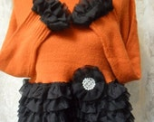 20% OFF Fall Sale SWEATER Cropped Fall Altered Clothing Boho Ruffles - Reworked New Sweater - Orange and Black