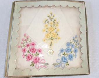 50s 60s Vintage Swiss NOS Hankies with Embroidered Flowers