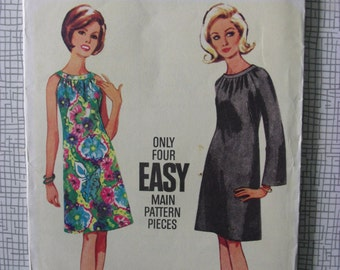 "1960s Dress - 31"" Bust - Butterick 4304 - Vintage Retro Sewing Pattern"