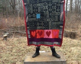 Crispina Blanket, Crispina Quilt, Recycled Sweater Throw Blanket - Upcycled Wool and Cashmere Quilt