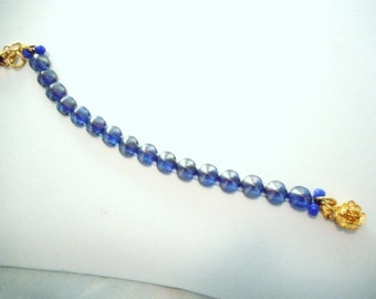 Cone Bracelet ~ Cerulean Blue ... Czech glass Tipp beads, dark blue satin ...#639