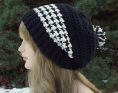 Black and Cream Slouchy Crochet Hat, Womens Slouch Beanie, Oversized Slouchy Beanie, Chunky Hat with Pom Pom, Slouchy Hat, Winter Slouch Hat