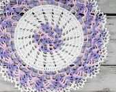 Lovely Crocheted White Lavender Pink Variegated Doily Table Topper - 13""