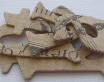 "FEMININE CHARM: Vintage Chipboard Letters &  Tag  Die cuts ... Lowercase 1"" -- 1.5""  Tall"
