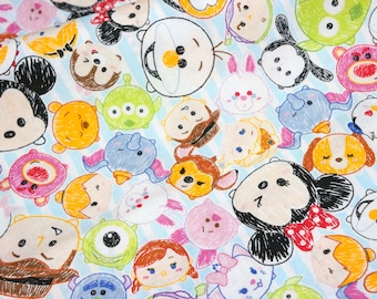 Disney licensed  fabric Disney Character  Disney tsum tsum fabric Print 50 cm by 53 cm or 19.6 by 21 inches fat quarter