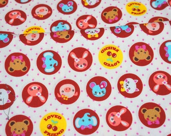 Japanese fabric pet print loved friend fat quarter nc12
