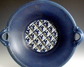 Feathered Pattern Bowl, hand thrown, Blueberry Glaze.  SHIPPING INCLUDED.