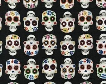 Fat Quarter - Dia De Los Muertos Skull Fabric Robert Kaufman AFE-70978-2 Black