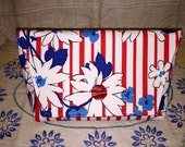 Vintage Waverly Red White Blue Patriotic Stripes Fabric Clutch Purse Bag Handbag Red Bakelite Button