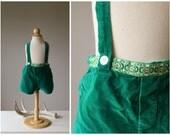 1960s Irish Velvet Suspender shorts~Size 12 Months