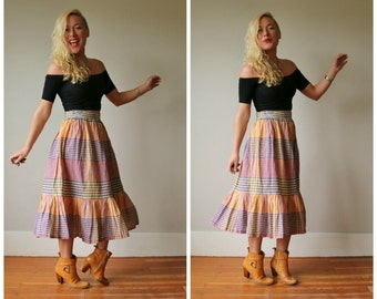 1970s Prairie Plaid Skirt~Size Extra Small to Small
