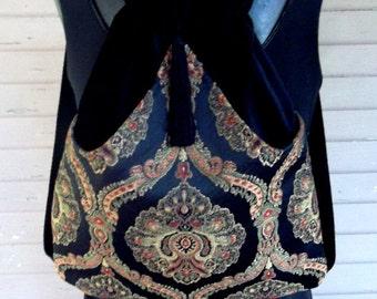 Medallion Jacquard Black Backpack Renaissance Backpack boho backpack boho slingbag black velvet bag backpacks boho cinch bag tapestry