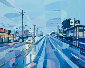 Archival print of oil painting titled SE 82nd no. 1, Portland Oregon urbanscape