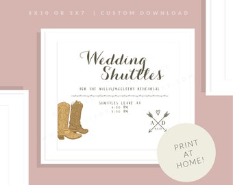 Cowboy Wedding Suttle Sign   Printable Western Wedding Shuttle Sign   Downloadable  Shuttle Sign   Cowboy Wedding Sign   Allie Collection