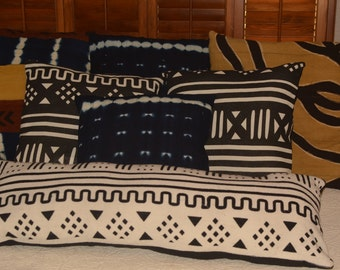 """African Mud Cloth """"fabric"""", white with black markings, woven/dyed, 36""""x14 pillow case"""