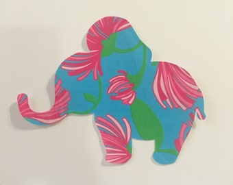 New custom Made To Order Elephant Pillow made with Lilly Pulitzer Blue Kissue fabric